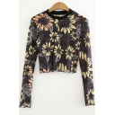 New Trendy Fashion Floral Printed Slim Fit Black Cropped Sheer Long Sleeve T-Shirt