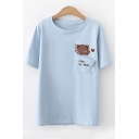 Cute Bear Letter GIVE MY HEART Embroidered Pocket Patched Short Sleeve Loose Fit T-Shirt