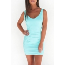 Women's Summer Sexy V-Neck Sleeveless Plain Bodycon Mini Tank Dress