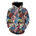 Cool Unique 3D Graffiti Pattern Sport Casual Long Sleeve Drawstring Hoodie