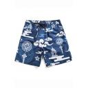 Chinese Style Cloud Printed Drawstring Waist Quick-Dry Flap Pocket Back Blue Swim Shorts