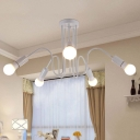 3/5 Lights Bare Bulb Suspension Light with White Curved Arm Simplicity Metallic Light Fixture