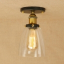 Curved Glass Shade Ceiling Lamp Retro Style Single Head Ceiling Flush Mount in Brass Finish for Porch