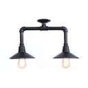 2 Lights Conical Ceiling Flush Mount Concise Traditional Metal Semi Flush Light in Matte Black for Coffee Shop
