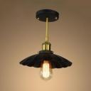 Scalloped Semi Flush Light Loft Style Metal Single Head Semi Flushmount in Natural Brass for Study Room