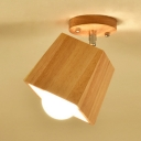 Wooden Trapezoid Shade Semi Flush Mount Modernism Rotatable 1 Head Ceiling Lamp for Hallway