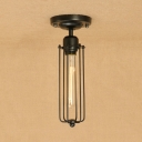 Tube Bulb Semi Flush Mount Light with Wire Guard Industrial Metal Single Light Ceiling Fixture in Black