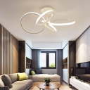 Ultra Thin LED Semi Flush Light with 4 Rings Monochromatic Metallic Ceiling Lamp in Warm/White