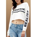 Fashion Letter REAL Pattern Round Neck Long Sleeve White Cropped Sweatshirt