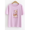 Cartoon Lovely Letter Deer Printed Basic Short Sleeve T-Shirt