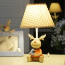 Checkered Shade Table Light with Resin Deer Base Children Bedroom Single Head Table Lamp