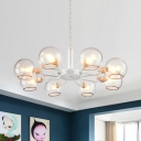 Nordic Style Orb Chandelier Lamp with Clear Glass Shade 3/6/8 Heads Drop Ceiling Lighting in White