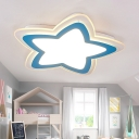 Lovely Blue/Pink Star Flushmount Nordic Style Acrylic LED Flush Light Fixture for Baby Room