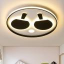 Eye Protection Acrylic LED Flush Light with Table Tennis Design Black Ceiling Light for Nursing Room