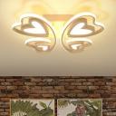 Baby Kids Room Heart Lighting Fixture Contemporary Acrylic LED Semi Flush Mount Lighting in White