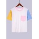 Summer Fashion Colorblocked Basic Short Sleeve Round Neck White T-Shirt