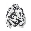 Fashion Black and White Ink Painting Long Sleeve Loose Fit Unisex Oversized Shirt