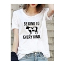 Funny Letter BE KIND TO EVERY KIND Summer Loose Relaxed Cotton T-Shirt