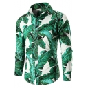 Summer Trendy Tropical Leaf Pattern Long Sleeve Casual Button-Up Shirt for Men