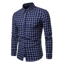 Stylish Check Pattern Mens Basic Long Sleeve Button-Front Slim Fit Flannel Shirt
