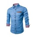 Men's Unique Leather Patched Pocket Long Sleeve Button-Up Slim Fit Denim Shirt