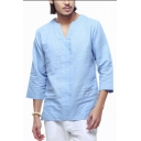 Men's Casual Loose V-Neck Three-Quarter Sleeve Solid Color Linen Pullover Shirt