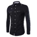 Men's Cool Stylish Multi-Zip Button Embellished Shoulder Strap Detail Long Sleeve Plain Fitted Shirt