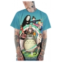3D Cartoon Pattern Loose Fit Short Sleeve Blue T-Shirt
