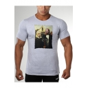 Men's Grey Short Sleeve Cool Game Of Thrones Character Print Fitted T-Shirt