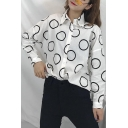 Retro Street Style Circle Printed Casual Loose Button Down Shirt
