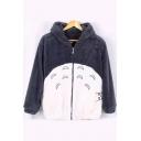 Cartoon Totoro Pattern Fashion Colorblock Long Sleeve Zip Up Gray Fleece Hoodie