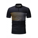 Men's Summer New Stylish Striped Pattern Short Sleeve Fitted Polo Shirt