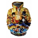 One Piece Comic Character Pattern Basic Long Sleeve Relaxed Fit Yellow Hoodie
