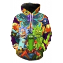 Rick and Morty Funny 3D Comic Character Pattern Long Sleeve Casual Purple Hoodie