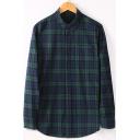 Fashion Plaid Printed Mens Long Sleeve Loose Fit Button-Down Cotton Shirt
