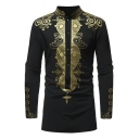 Retro African Style Printed Stand-Collar Long Sleeve Four-Button Longline Shirt for Men