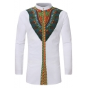 Mens Retro Ethnic Tribal Printed Stand-Collar Long Sleeve Fitted Button-Up Long Shirt