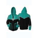 Cosplay Costume Long Sleeve Casual Zip Up Blue Hoodie