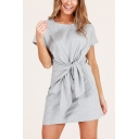 Summer New Fashion Round Neck Short Sleeve Tied Waist Mini A-Line T-Shirt Dress