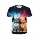 Lovely 3D Cat Printed Short Sleeve Casual T-Shirt