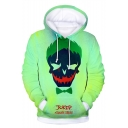 Cool Clown Skull Print Long Sleeve Casual Loose Light Green Hoodie