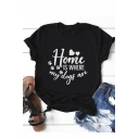Funny Letter HOME IS WHERE MY DOGS ARE Basic Street Style Black T-Shirt