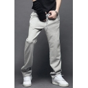 Mens New Fashion Solid Color Drawstring Waist Straight-Leg Casual Sport Cotton Sweatpants