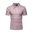 Summer Mens Stylish Vertical Stripe Printed Short Sleeve Slim Red Polo Shirt