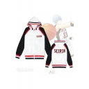 New Stylish Comic Colorblock Letter SEIRIN Long Sleeve Zip Up White Hoodie