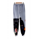 French Dog Cool 3D Printed Drawstring Waist Casual Loose Sport Cotton Sweatpants