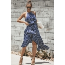 Summer Fashion Clasic Polka Dot Printed Halter Neck Womens Midi Asymmetric Dress