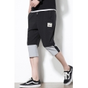 Summer Fashion Unique Patchwork Drawstring-Waist Guys Sport Casual Cropped Pants