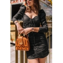 Womens Fashion Square Neck Long Sleeve Ruched Detail Mini Black Bodycon Dress