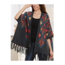 Ethic Geometric Pattern Open Front Half Sleeves Cape Cardigan Trimmed with Tassels